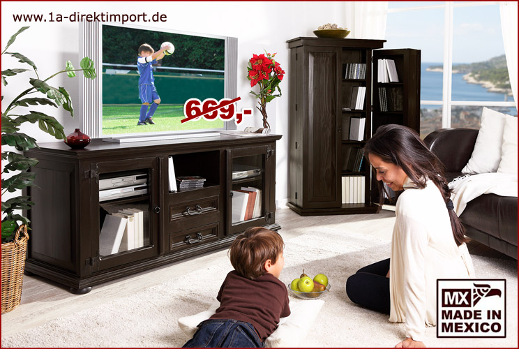 kolonialstil tv kommode lowboard tisch mexico kolonial pinie massiv m bel neu ebay. Black Bedroom Furniture Sets. Home Design Ideas