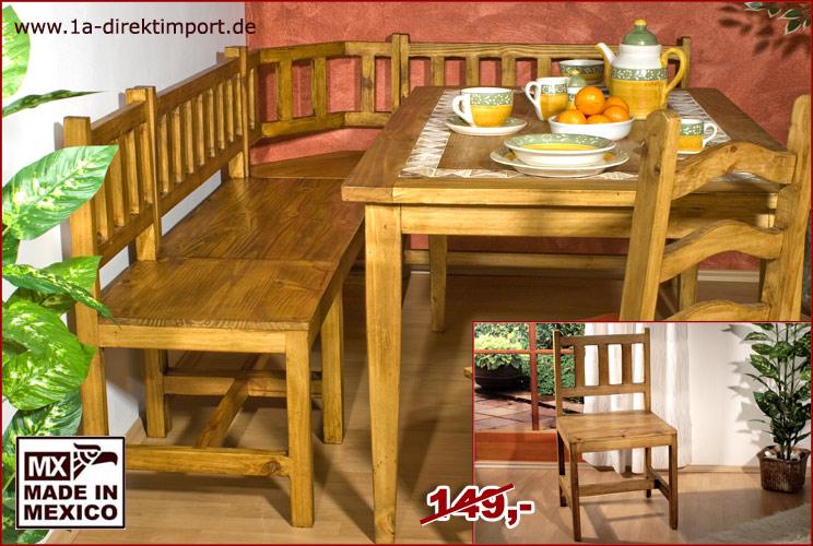 eckbank mexico 48cm bank stuhl sitzbank pinie massiv mexiko m bel neu ebay. Black Bedroom Furniture Sets. Home Design Ideas