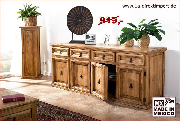 xl sideboard schrank kommode anrichte pinie massiv original mexico m bel neu ebay. Black Bedroom Furniture Sets. Home Design Ideas
