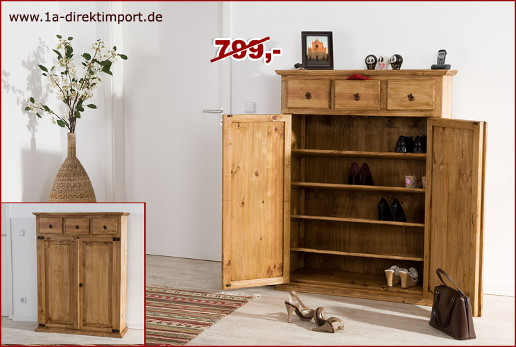 gro er mexico schuhschrank schuhkommode flurm bel pinie massiv m bel neu ebay. Black Bedroom Furniture Sets. Home Design Ideas