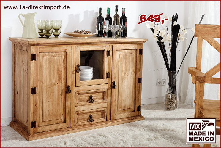 mexico sideboard schrank kommode mit glas pinie massiv m bel aus mexiko neu ebay. Black Bedroom Furniture Sets. Home Design Ideas