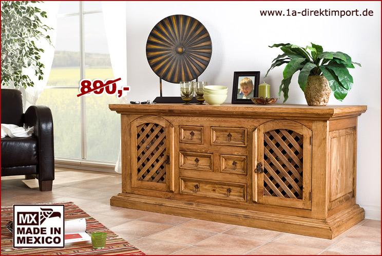original mexico hacienda sideboard anrichte kommode pinie massiv mexiko m bel. Black Bedroom Furniture Sets. Home Design Ideas