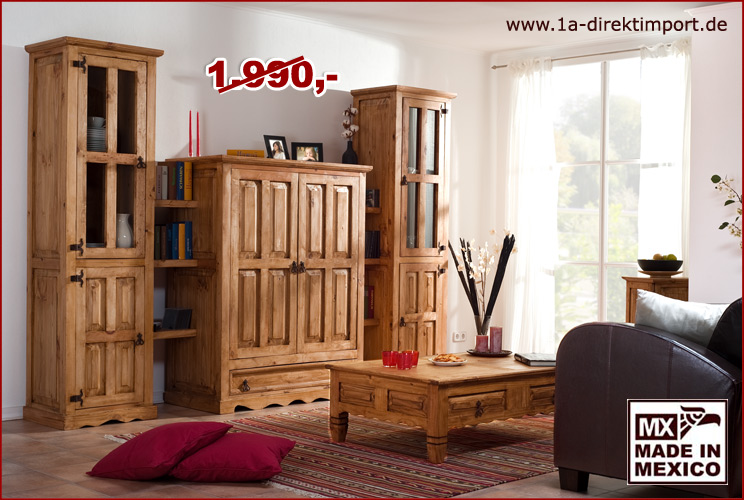massive mexico hacienda wohnwand tv wand pinie massiv original m bel aus mexiko ebay. Black Bedroom Furniture Sets. Home Design Ideas