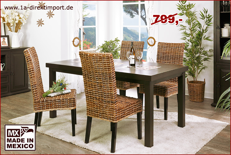 kolonialstil esstisch tisch pinie marmor mosaik mexico kolonial moebel neu ebay. Black Bedroom Furniture Sets. Home Design Ideas