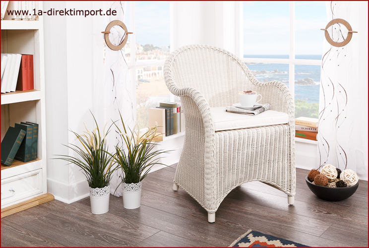 toller rattansessel wei sessel armlehnstuhl mit rattan. Black Bedroom Furniture Sets. Home Design Ideas