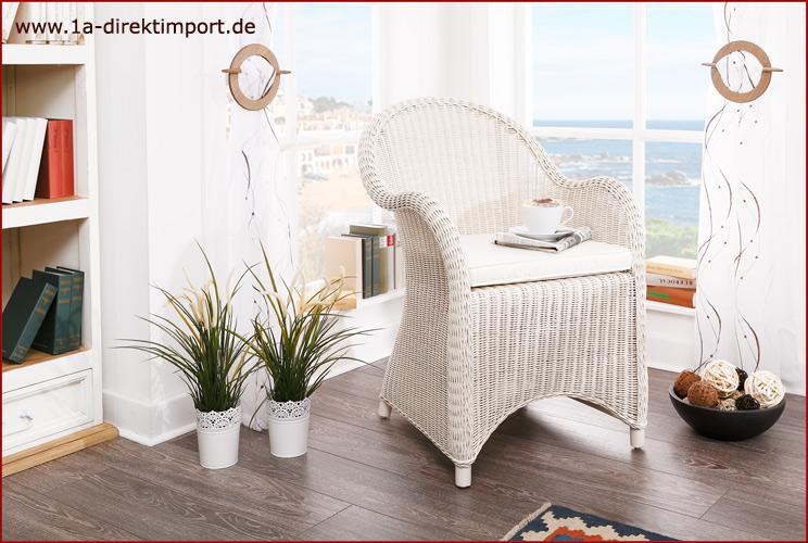 toller rattansessel wei sessel armlehnstuhl mit rattan. Black Bedroom Furniture Sets. Home Design Ideas
