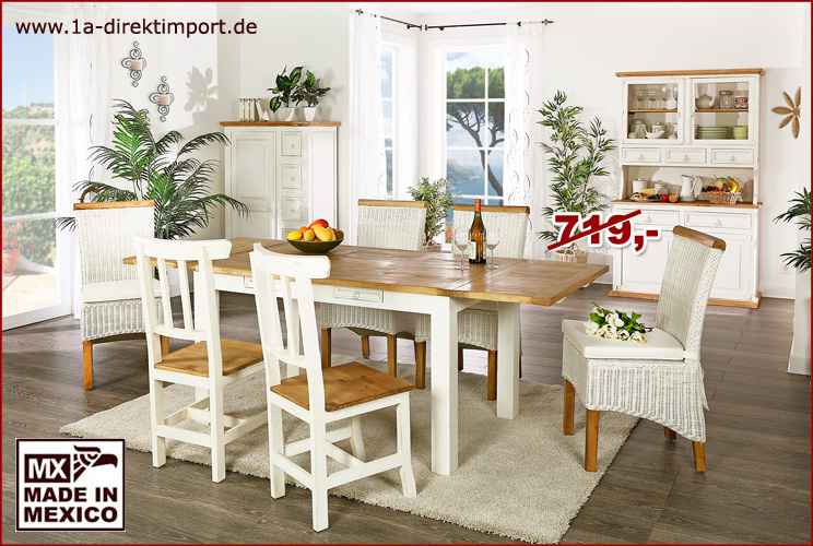 esstisch tisch mexico wei honig ausziehbar pinie massiv shabby m bel neu ebay. Black Bedroom Furniture Sets. Home Design Ideas
