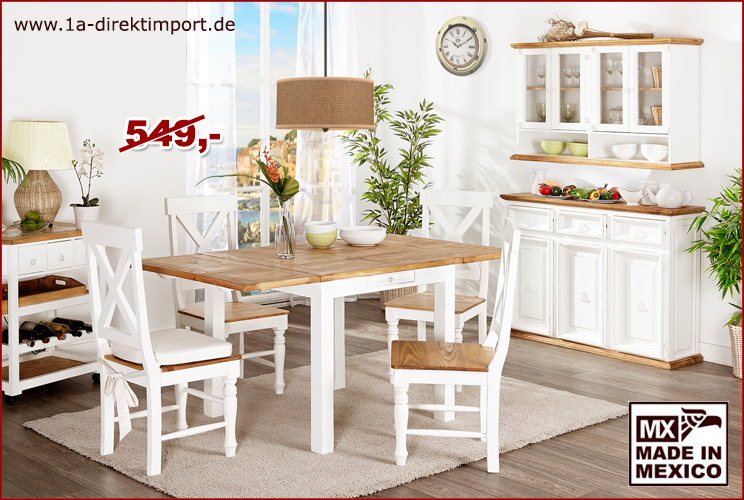 esstisch k chentisch tisch inkl 2x verl ngerung pinie massiv wei shabby chic ebay. Black Bedroom Furniture Sets. Home Design Ideas