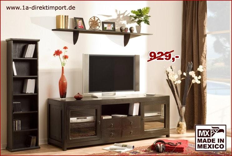 TV-Kommode - 2 Glastüren, 4 Schübe, 1 Fach