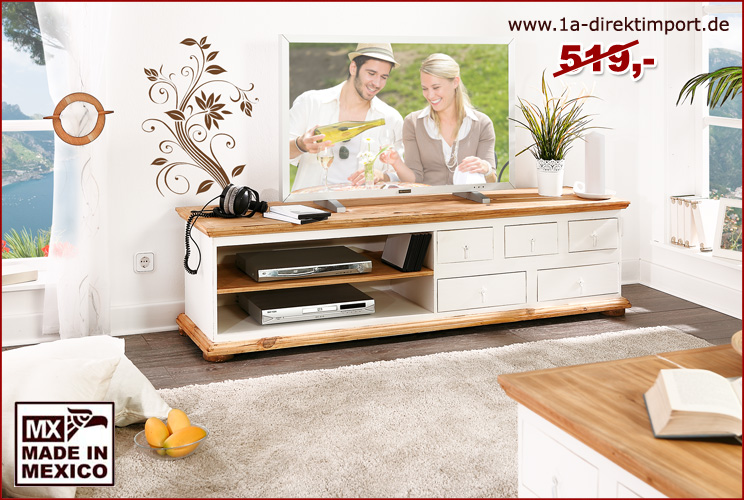 mexico lowboard tv kommode pinie wei honig landhaus. Black Bedroom Furniture Sets. Home Design Ideas