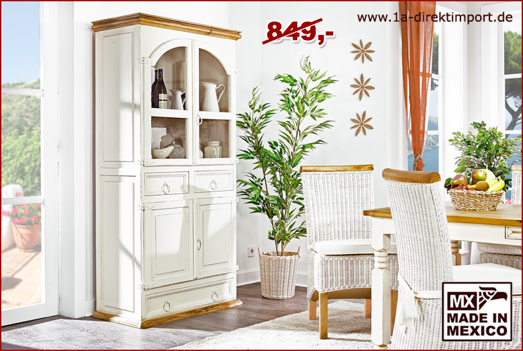 vitrine mexico weiss honigfarbig pinie massiv montiert shabby m bel 1a direktimport. Black Bedroom Furniture Sets. Home Design Ideas