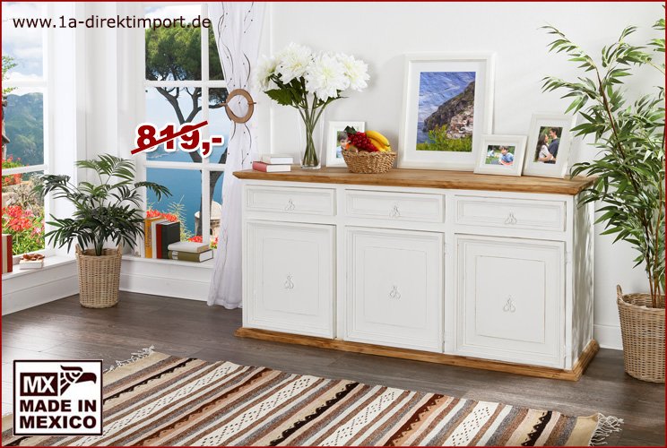sideboard breit 3 sch be 3 t ren sideboards highboards mexico wei honig m bel 1a. Black Bedroom Furniture Sets. Home Design Ideas