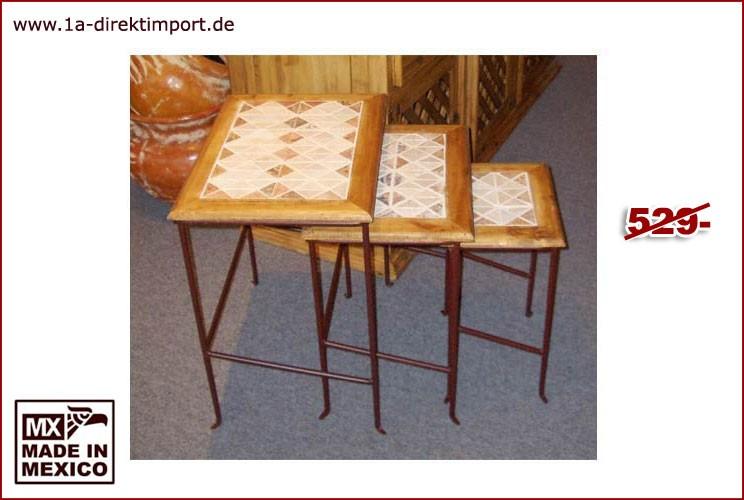Set Beistelltische - Marmor, Schmiedeeisen
