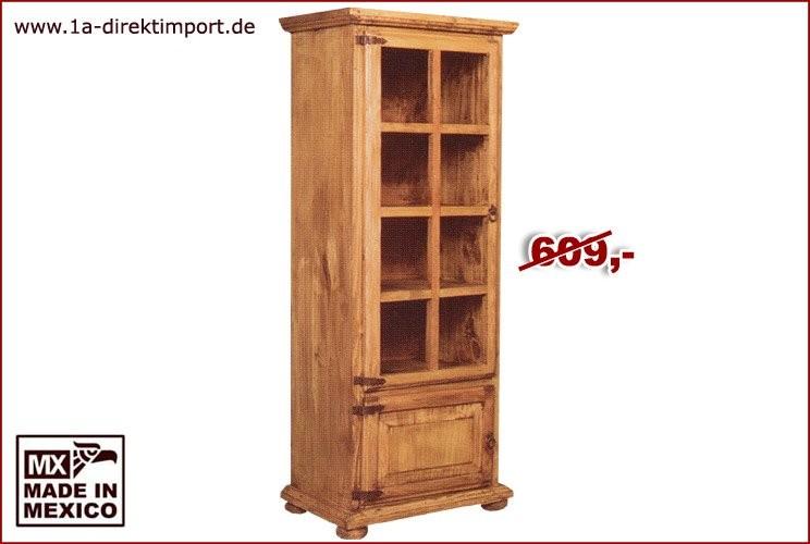 Vitrine - 1 Glastür, 1 Holztür