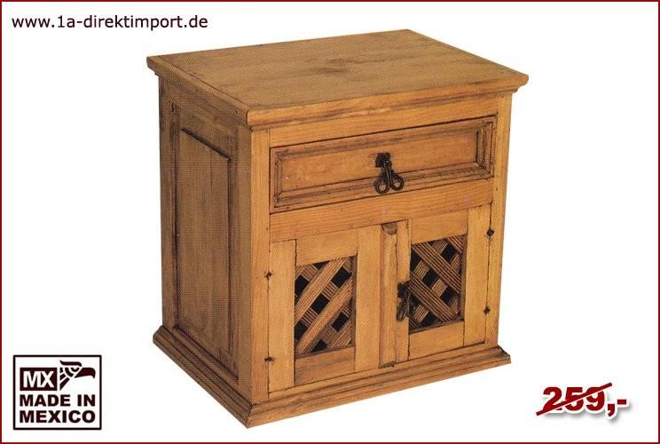 Kommode/Nachttisch - 2 Gittertüren, 1 Schub