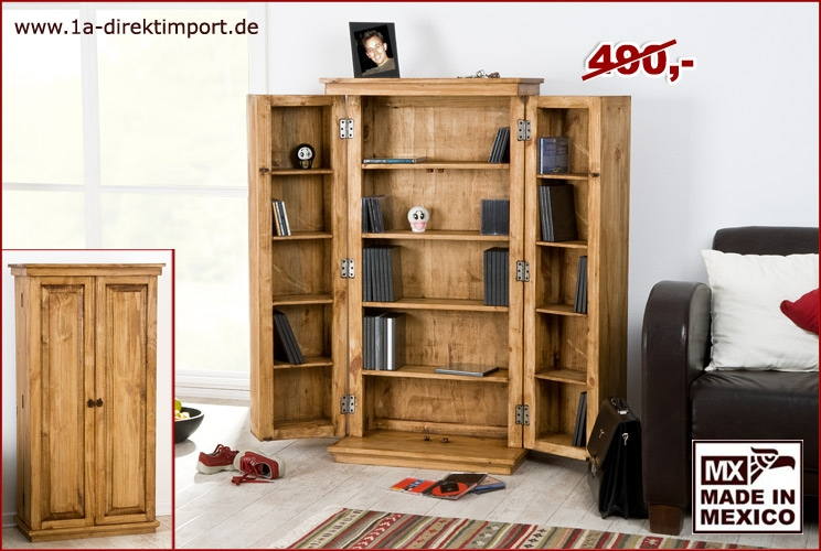 mexico cd dvd schrank pinie massiv montiert honigfarbig 1a direktimport. Black Bedroom Furniture Sets. Home Design Ideas