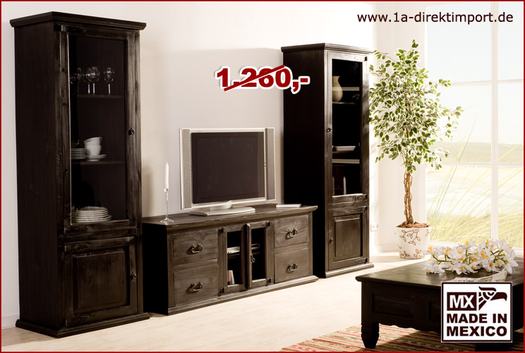 set aus 2x vitrine 39 mexico kolonial 39 kolonialstil 1a direktimport. Black Bedroom Furniture Sets. Home Design Ideas