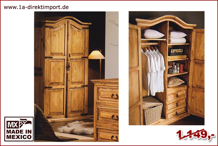 mexico schrank kleiderschrank direktimport aus mexiko 1a direktimport. Black Bedroom Furniture Sets. Home Design Ideas