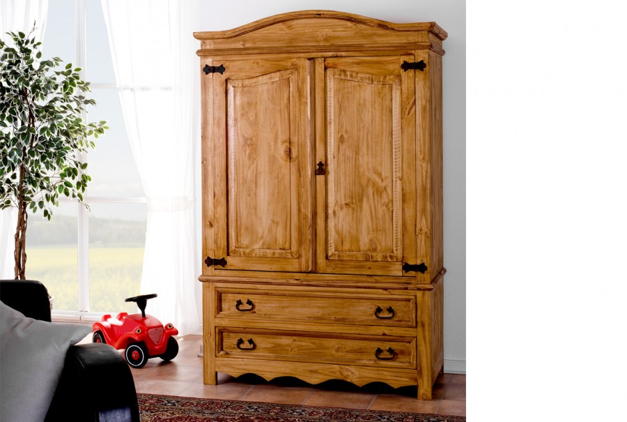 Kleiderschrank 3tlg - 2 Türen, 2 Schübe
