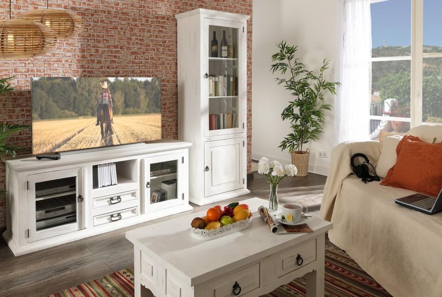 TV-Kommode - 2 Glastüren, 2 Schübe