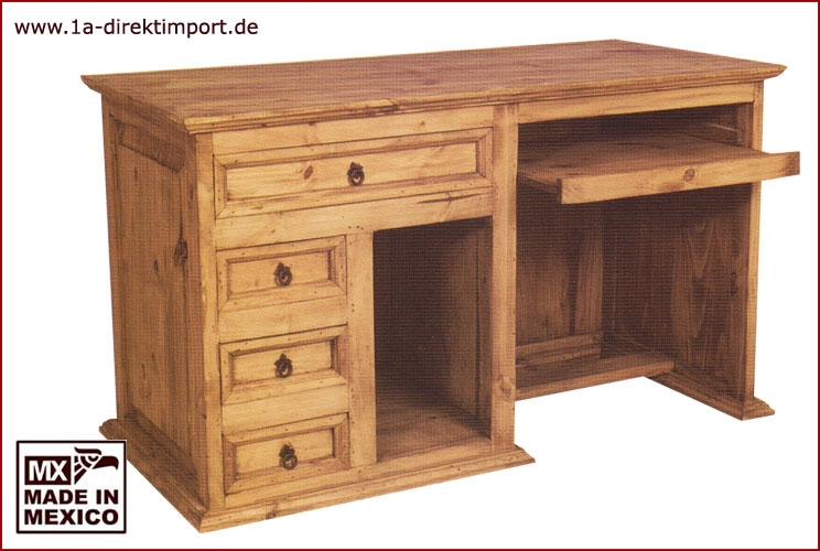 schreibtisch mexico 140x65 cm mexikanisch pinie massiv 1a direktimport. Black Bedroom Furniture Sets. Home Design Ideas