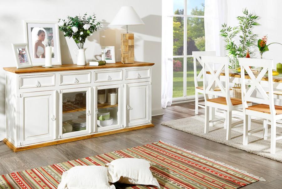 Sideboard - 2 Glas-, 2 Holztüren, 4 Schübe