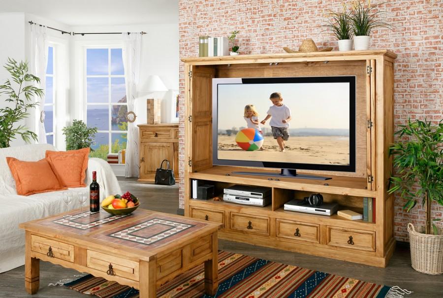 TV-Schrank - versenkbare Türen, 4 Schübe