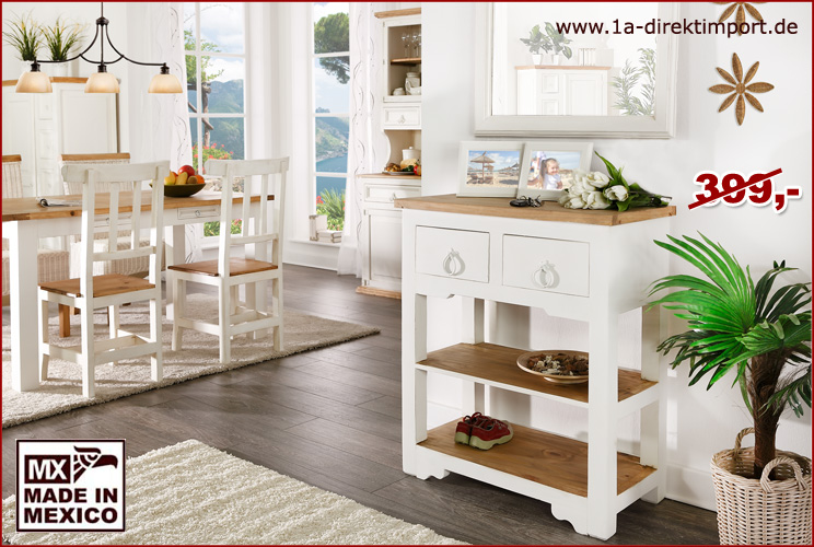 mexico konsole anrichte beistelltisch weiss honig landhausstil shabby m bel 1a direktimport. Black Bedroom Furniture Sets. Home Design Ideas