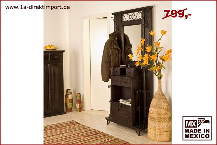 Kolonialstil garderobe massivholz kolonial gebeizt 1a for Eisen garderobe