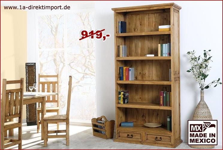 Bücherregal, gerade - 4 Böden, 2 Schübe