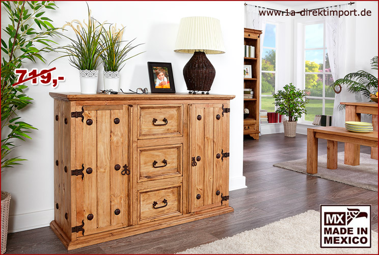 original mexico m bel sideboard sidebord pinie 1a direktimport. Black Bedroom Furniture Sets. Home Design Ideas