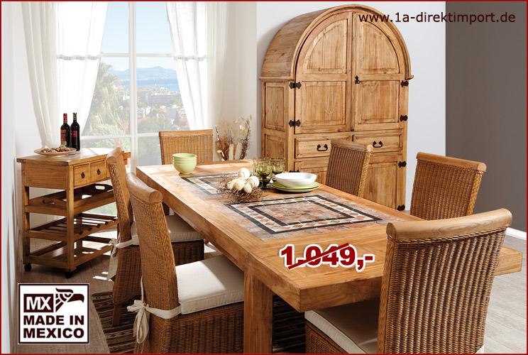 mexico m bel esstisch marmor pinie ausziehbar 1a. Black Bedroom Furniture Sets. Home Design Ideas