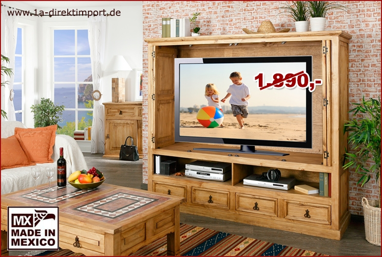 gro er tv schrank fernsehschrank versenkbare t ren original mexico m bel pinie massiv 1a. Black Bedroom Furniture Sets. Home Design Ideas