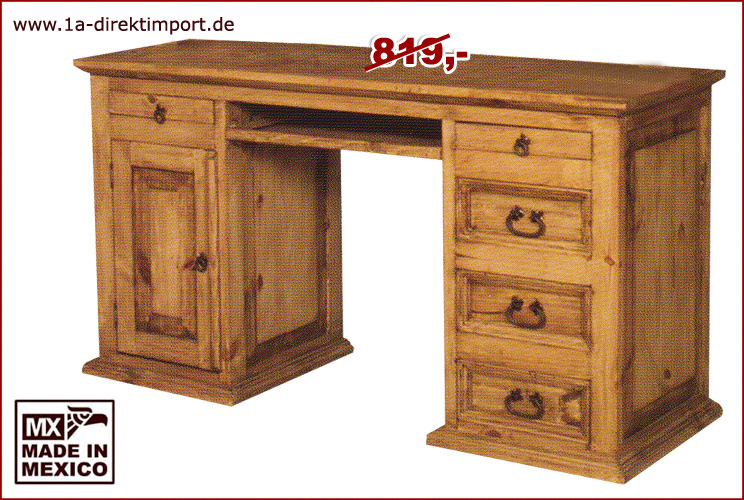 mexico schreibtisch pinie massiv 158x54 cm 1a direktimport. Black Bedroom Furniture Sets. Home Design Ideas