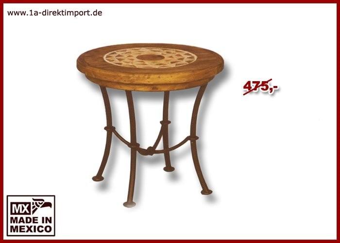Beistelltisch - Holz, Marmor, Schmiedeeisen