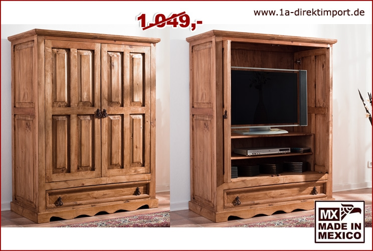mexico tv schrank versenkbare t ren pinie 1a direktimport. Black Bedroom Furniture Sets. Home Design Ideas