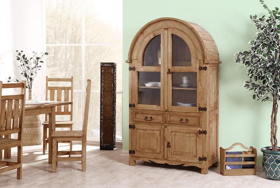 Rundbogenvitrine - 4 Türen, 2 Schubladen