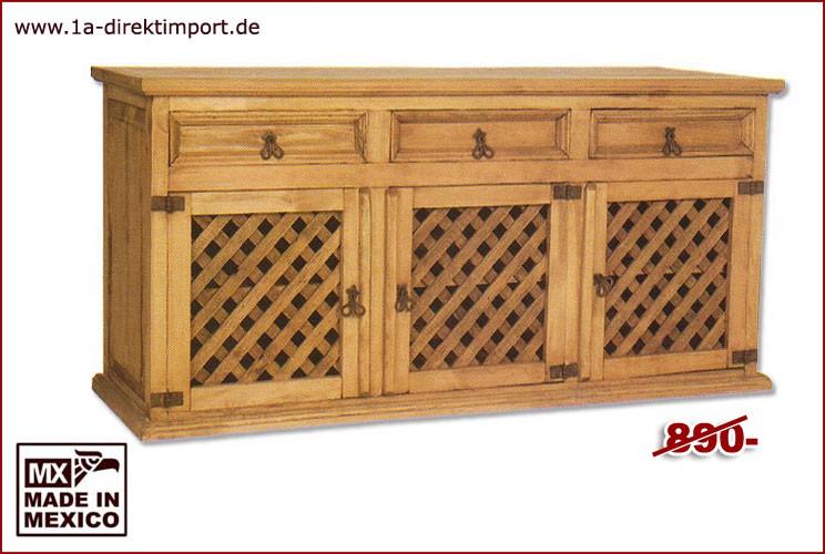 Sideboard - 3 Gittertüren, 3 Schübe