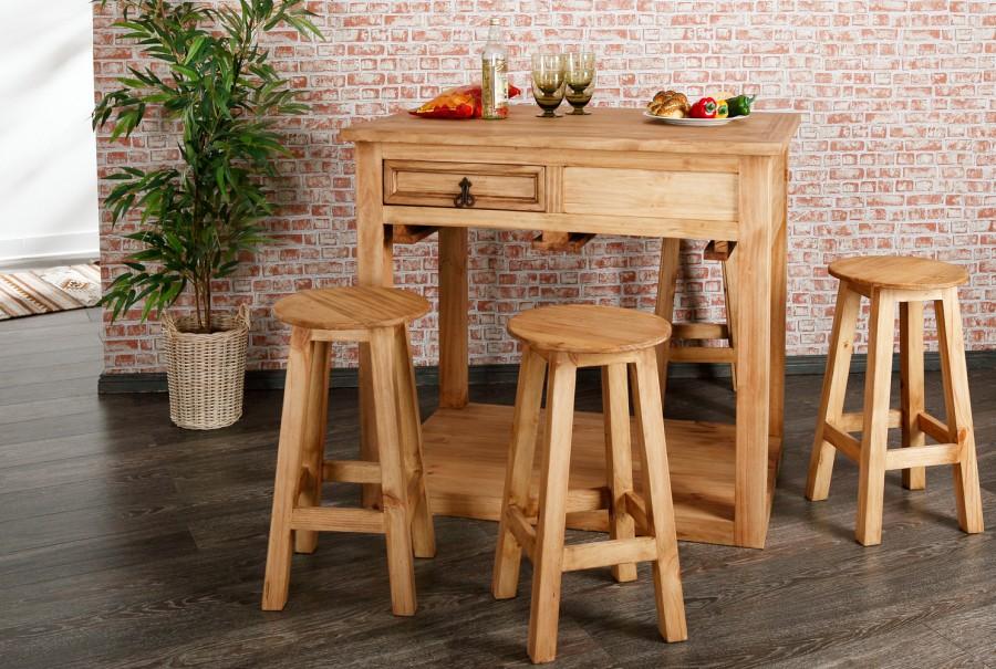 Tisch mit vier Hockern, 2 Schübe