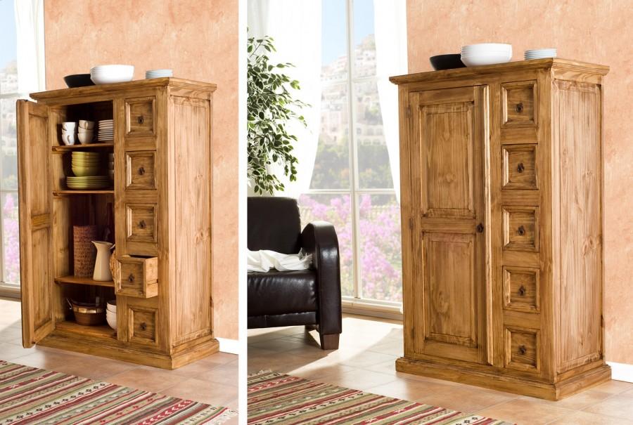 Schrank - 1 Tür, 3 Böden, 5 Schubladen