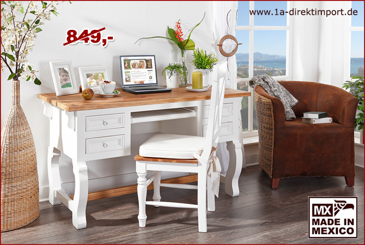 schreibtisch mexico wei honig shabby chic pinie massiv 1a direktimport. Black Bedroom Furniture Sets. Home Design Ideas