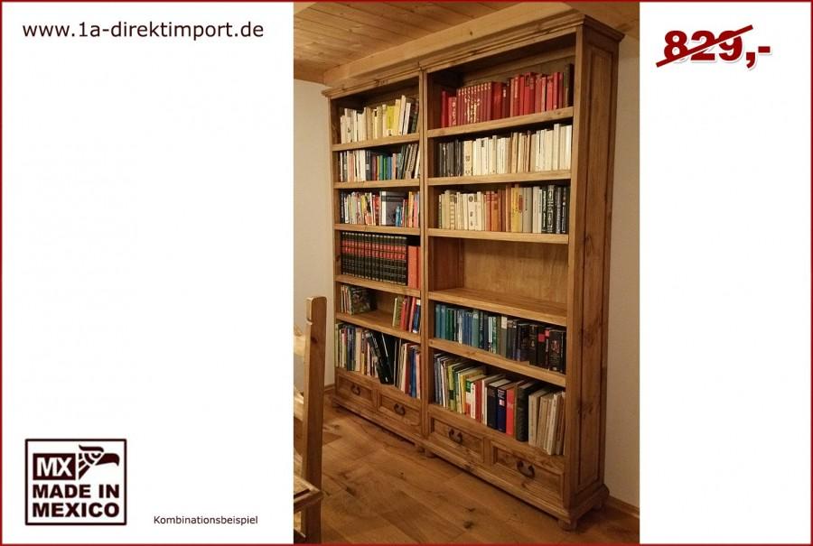 Bücherregal, links - 5 Böden, 2 Schübe