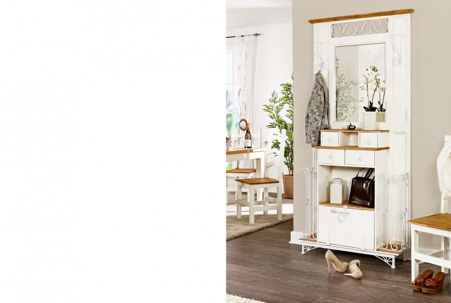 Garderobe mit Spiegel & Eisen - 4 Schübe