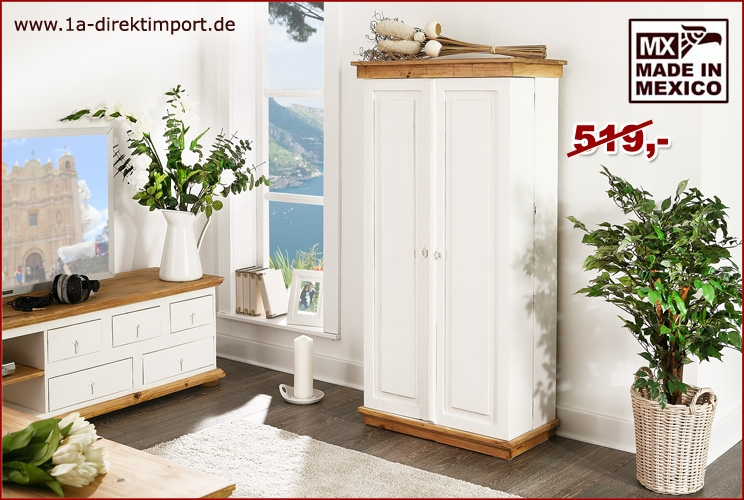 cd dvd schrank mexico pinie wei honig landhausstil m bel shabby 1a direktimport. Black Bedroom Furniture Sets. Home Design Ideas