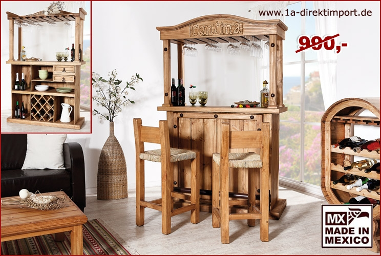 mexico m bel bar hausbar xl mit weinablagen 1a direktimport. Black Bedroom Furniture Sets. Home Design Ideas