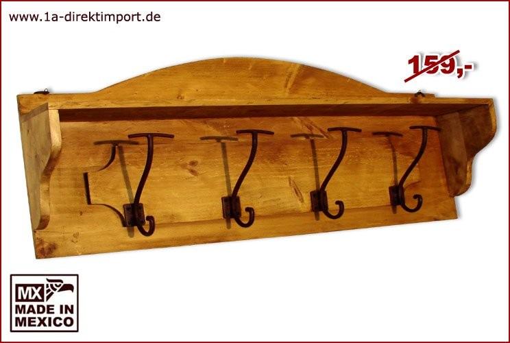 Garderobe - 4 Haken, 1 Ablage