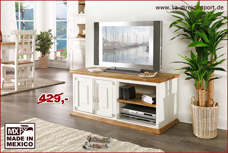 mexico tv kommode fernsehtisch pinie weiss honig landhausstil shabby m bel 1a direktimport. Black Bedroom Furniture Sets. Home Design Ideas