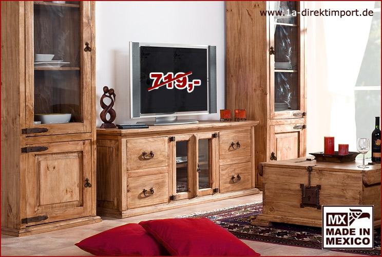 TV-Tisch - 2 Glastüren, 4 Schübe