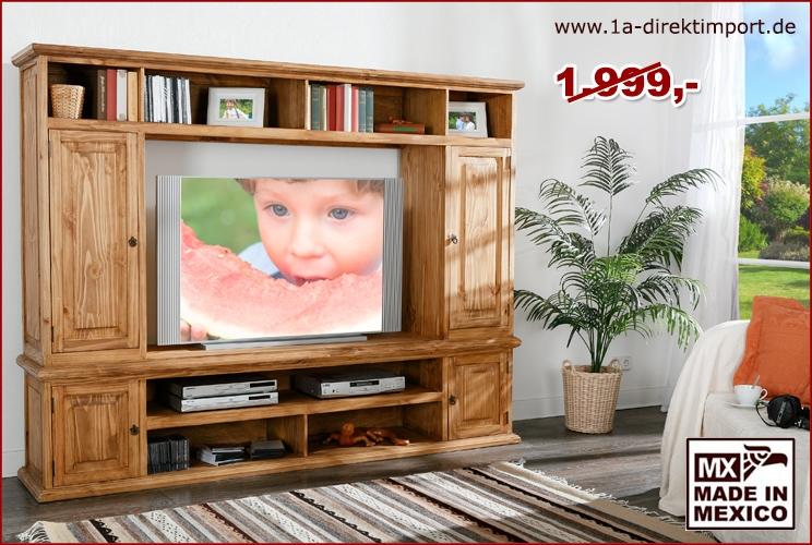 wohnwand tv wand mexico landhausstil m bel pinie massiv 1a direktimport. Black Bedroom Furniture Sets. Home Design Ideas