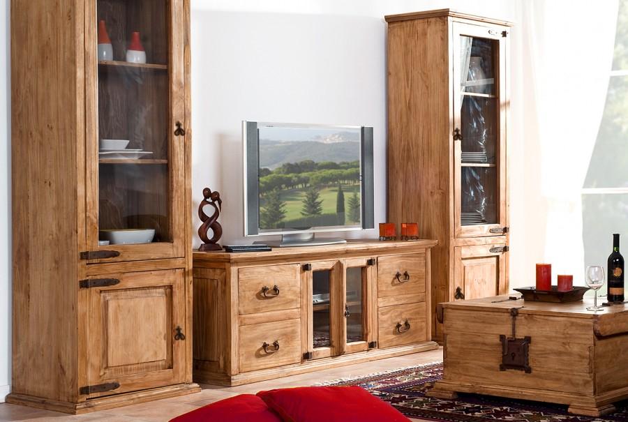 TV-Kommode - 2 Glastüren, 4 Schübe
